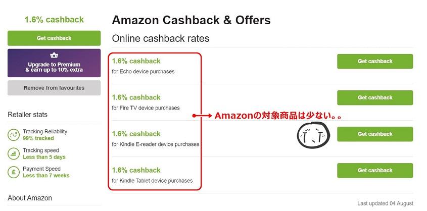 Quidco Amazon対象商品