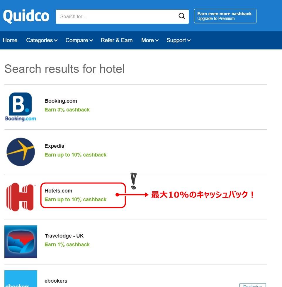 Quidcoホテル提携サイト